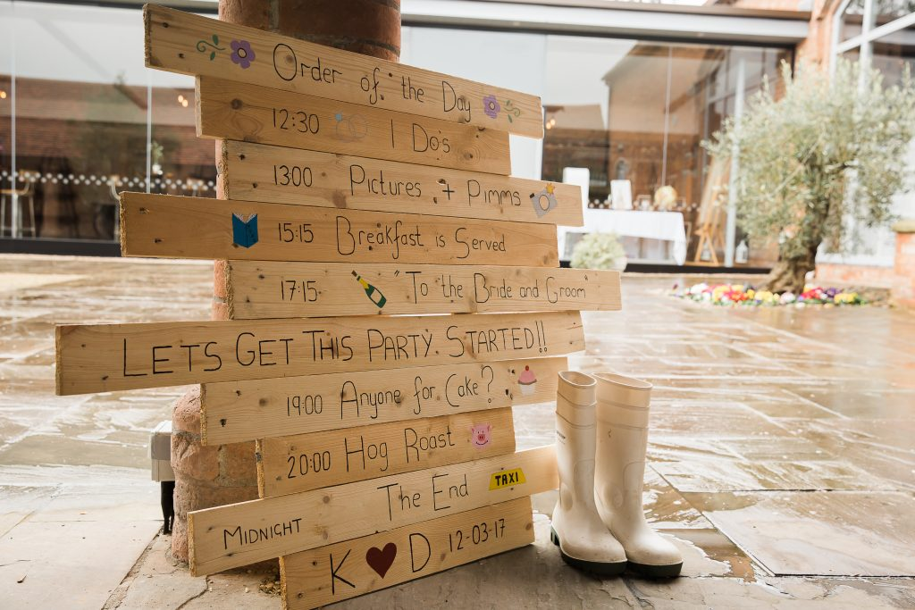 DIY pallet board timetable